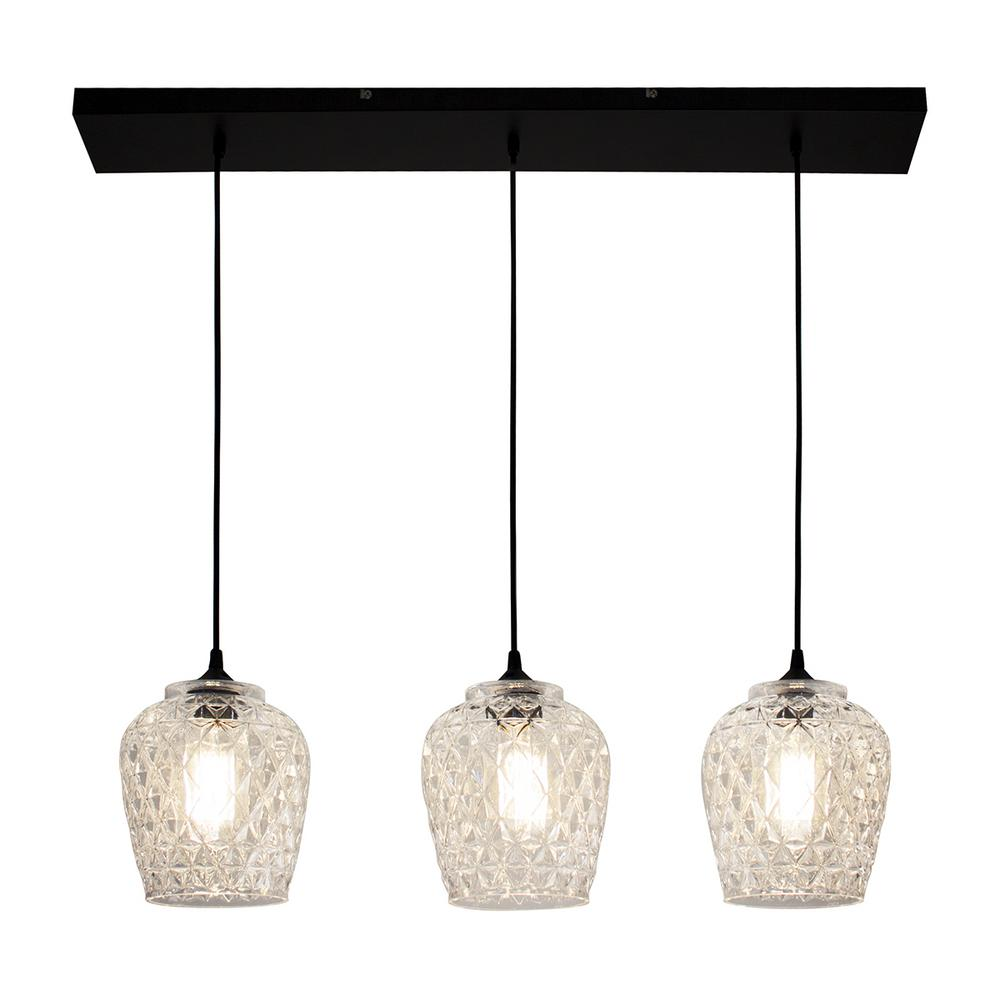 Ceiling Pendant Lights Bazz 35 In 3 Light Clear Textured Glass Shade Hanging Ceiling Pendant