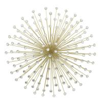 THREE HANDS Metal Gold Jeweled Sunburst Wall Decor