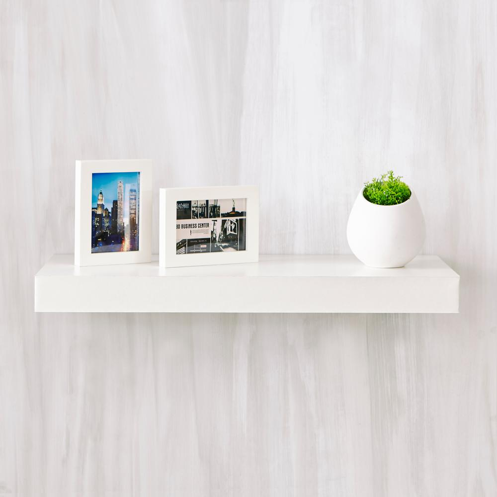 White Floating Shelves Way Basics Ravello 24 In. X 2 In. Zboard Wall Shelf