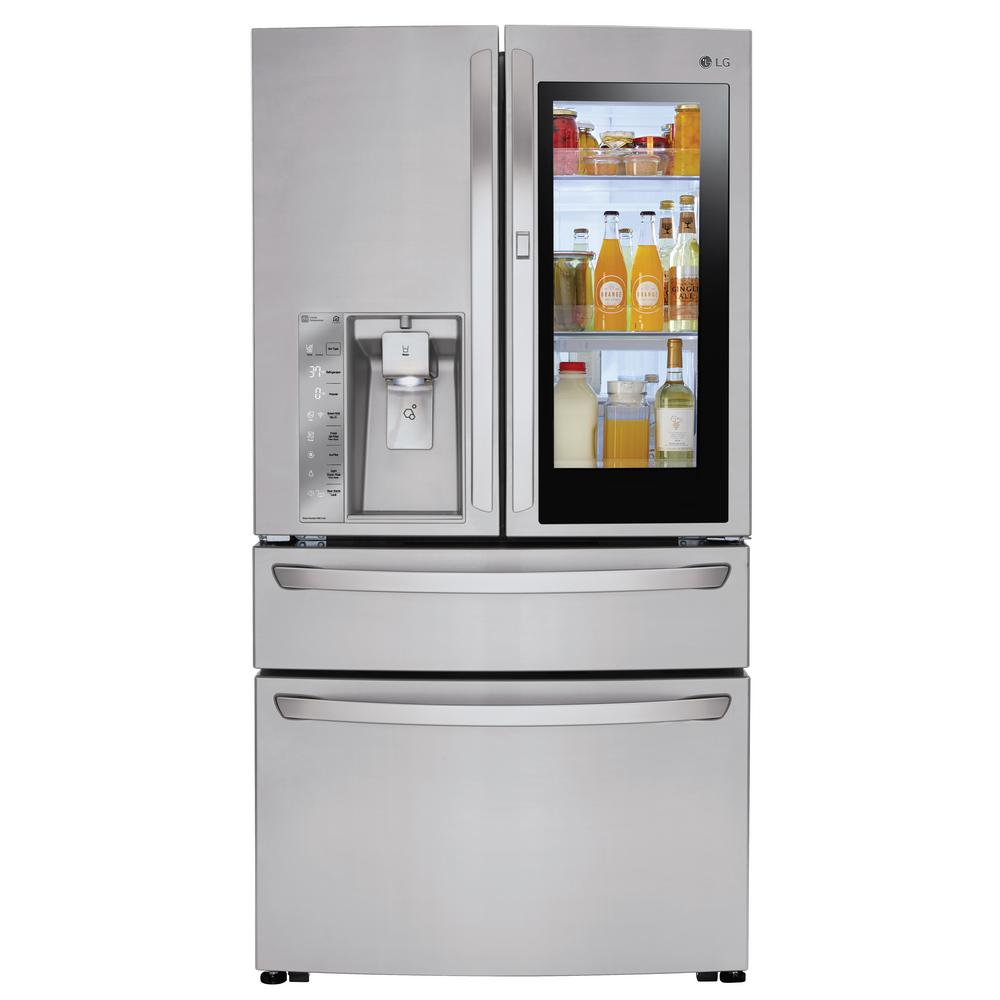 Smart Kühlschrank Lg Electronics 23 Cu Ft 4 Door French Door Smart Refrigerator With Instaview Door In Door In Stainless Steel Counter Depth