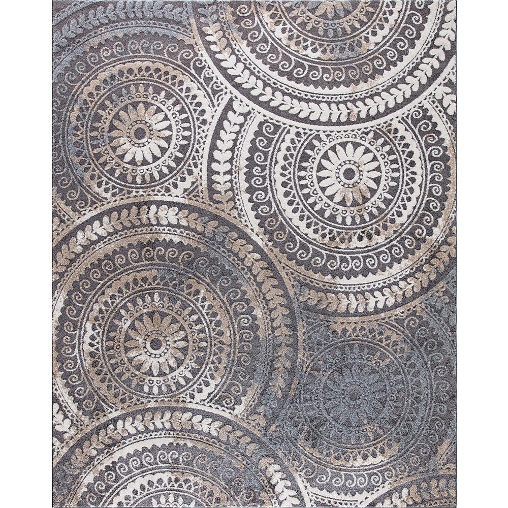 Large Rugs Sydney Spiral Medallion Cool Gray 8 Ft X 10 Ft Tones Area Rug