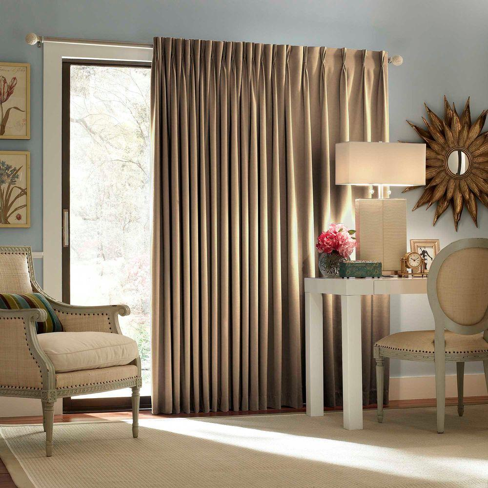 Thermal Patio Door Curtains With Grommets Eclipse Blackout Thermal Blackout Patio Door 84 In L Curtain Panel In Wheat