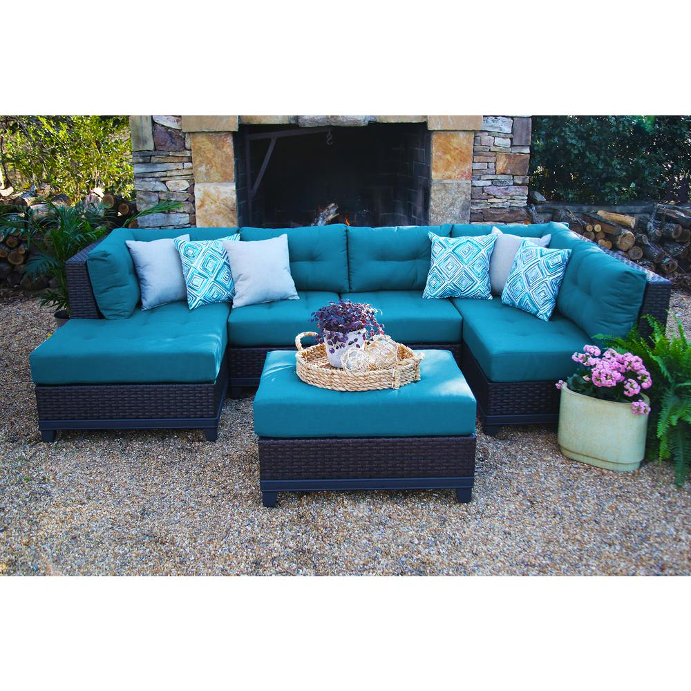 Blue Sectional Ae Outdoor Hillborough Blue 4 Piece All Weather Wicker Outdoor Sectional With Sunbrella Cushions
