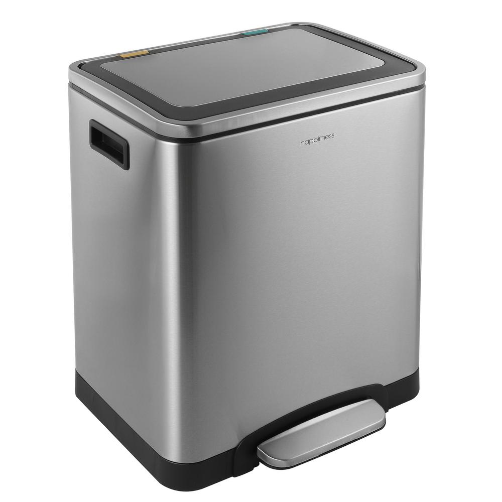 Small White Trash Can With Lid Happimess Elmo Rectangular 8 Gal Double Bucket Trash Can With Soft Close Lid