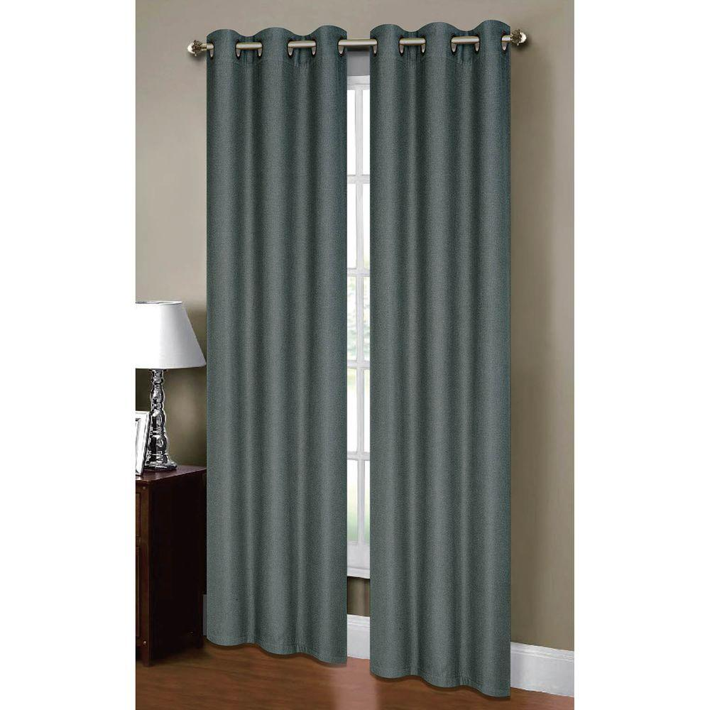 Curtains For A Blue Room Bella Luna Semi Opaque Henley Faux Linen 84 In L Room Darkening Grommet Curtain Panel Pair Dusty Blue Set Of 2