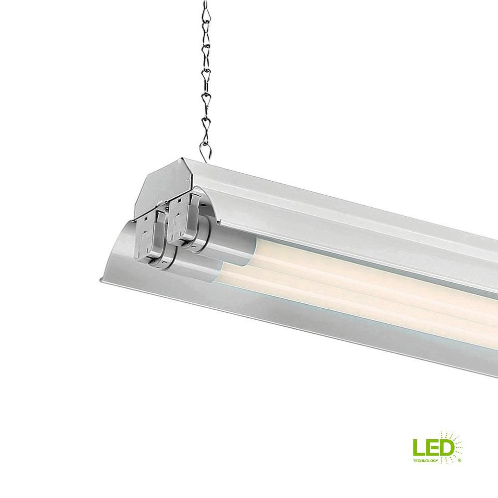 Led T8 Envirolite 4 Ft 2 Light White Led Shop Light With T8 Led 5000k Tubes