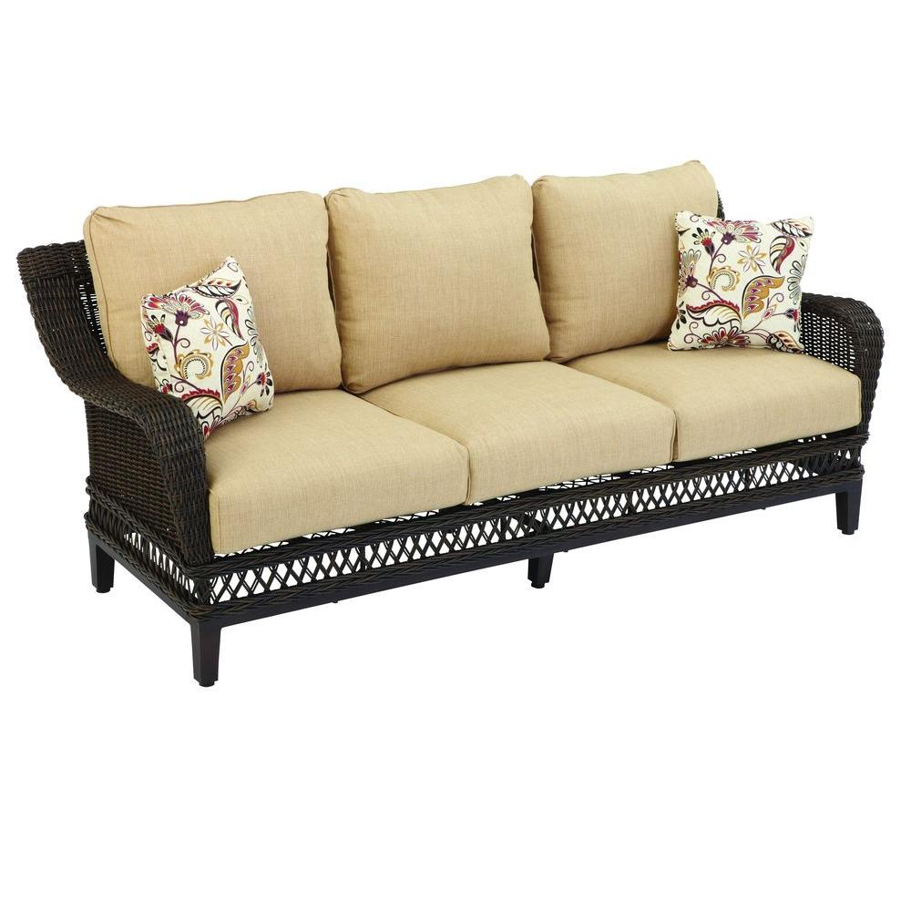 Sofa Cushions That Don't Go Flat Hampton Bay Woodbury Wicker Outdoor Patio Sofa With Textured Sand Cushion