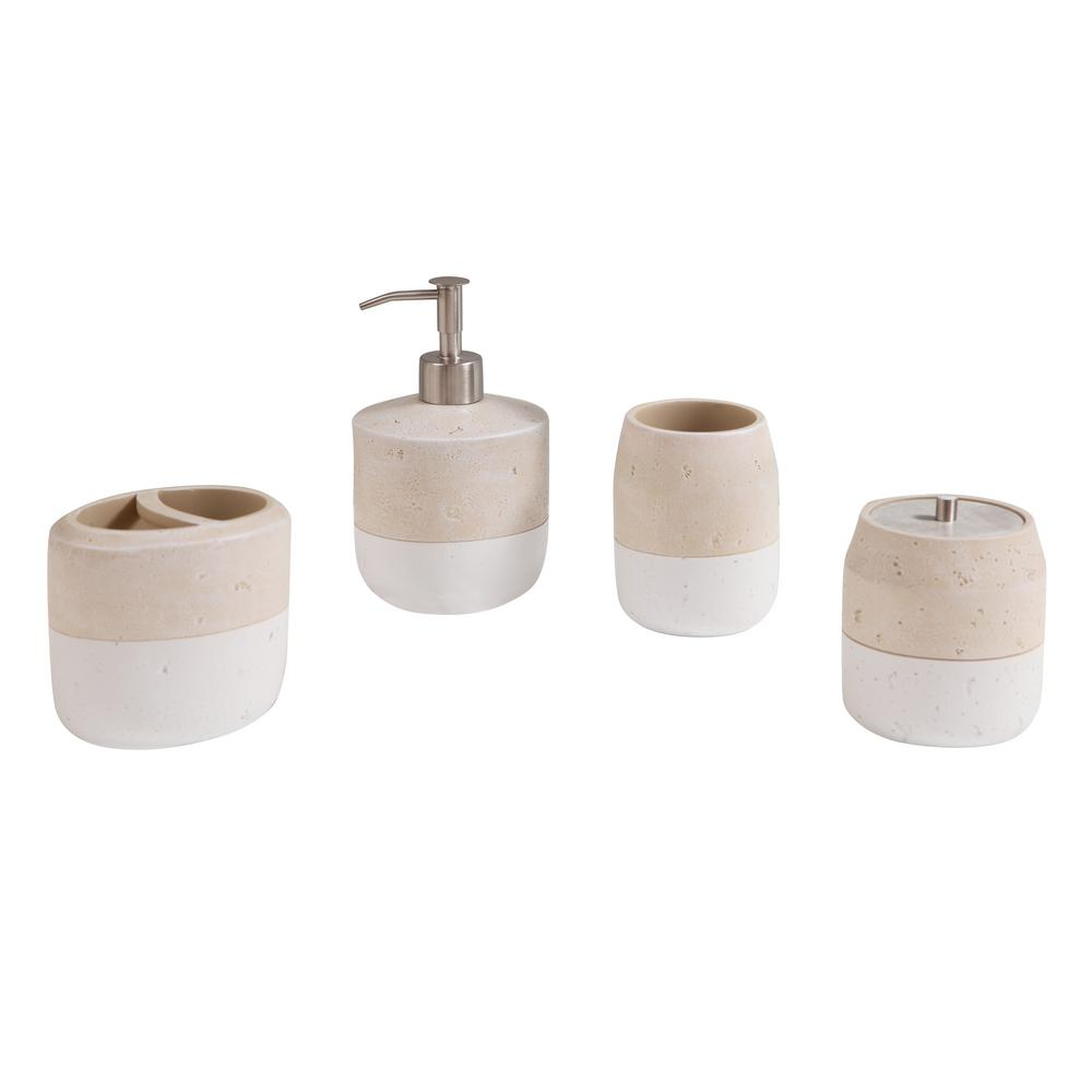 Bathroom Accessories Avanity Koko 4 Piece Bath Accessories Set In Beige And White