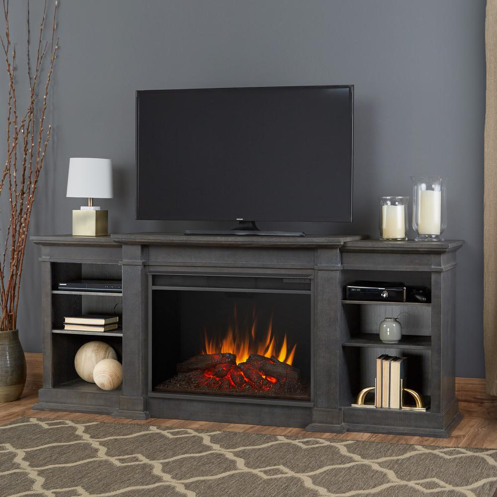 Fireplace Tv Stand Home Depot Real Flame Eliot Grand 81 In Electric Fireplace Tv Stand Entertainment Center In Antique Gray