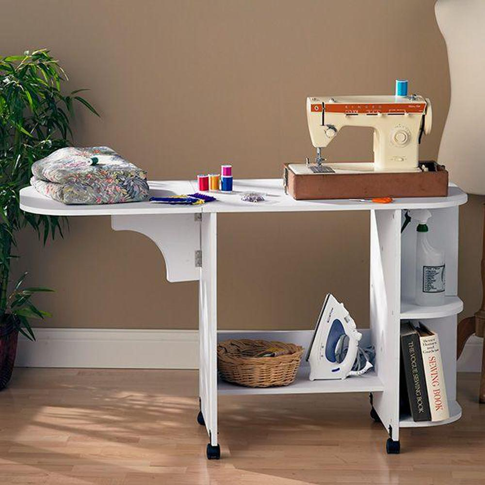 Storage Table On Wheels White Sewing Table Oc9665t The Home Depot