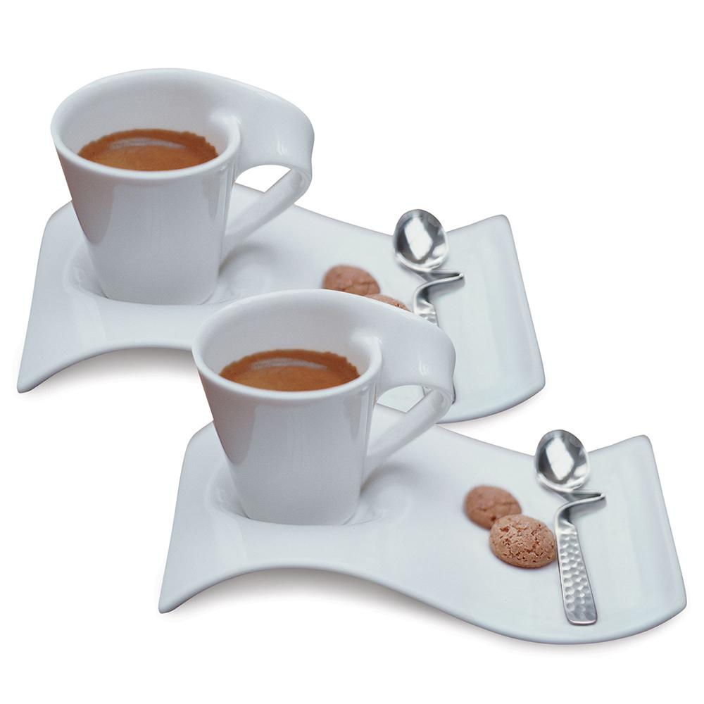 Villery Und Boch New Wave Caffe White 2 5 Oz Espresso For 2 6 Piece Set