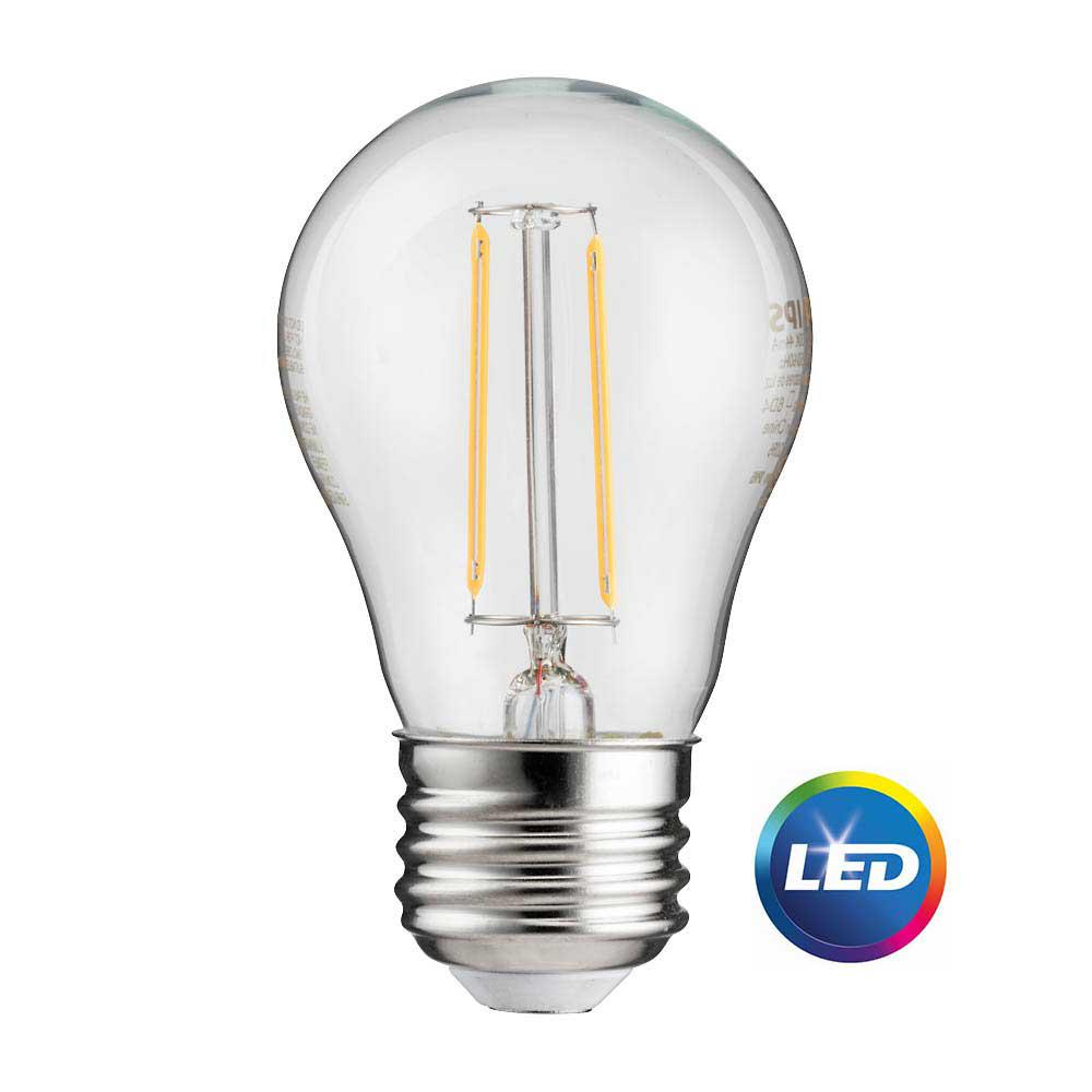 Phillips Light Bulbs Philips 25 Watt Equivalent A15 Indoor Outdoor Clear Glass Edison Led Light Bulb Amber Warm White 2200k