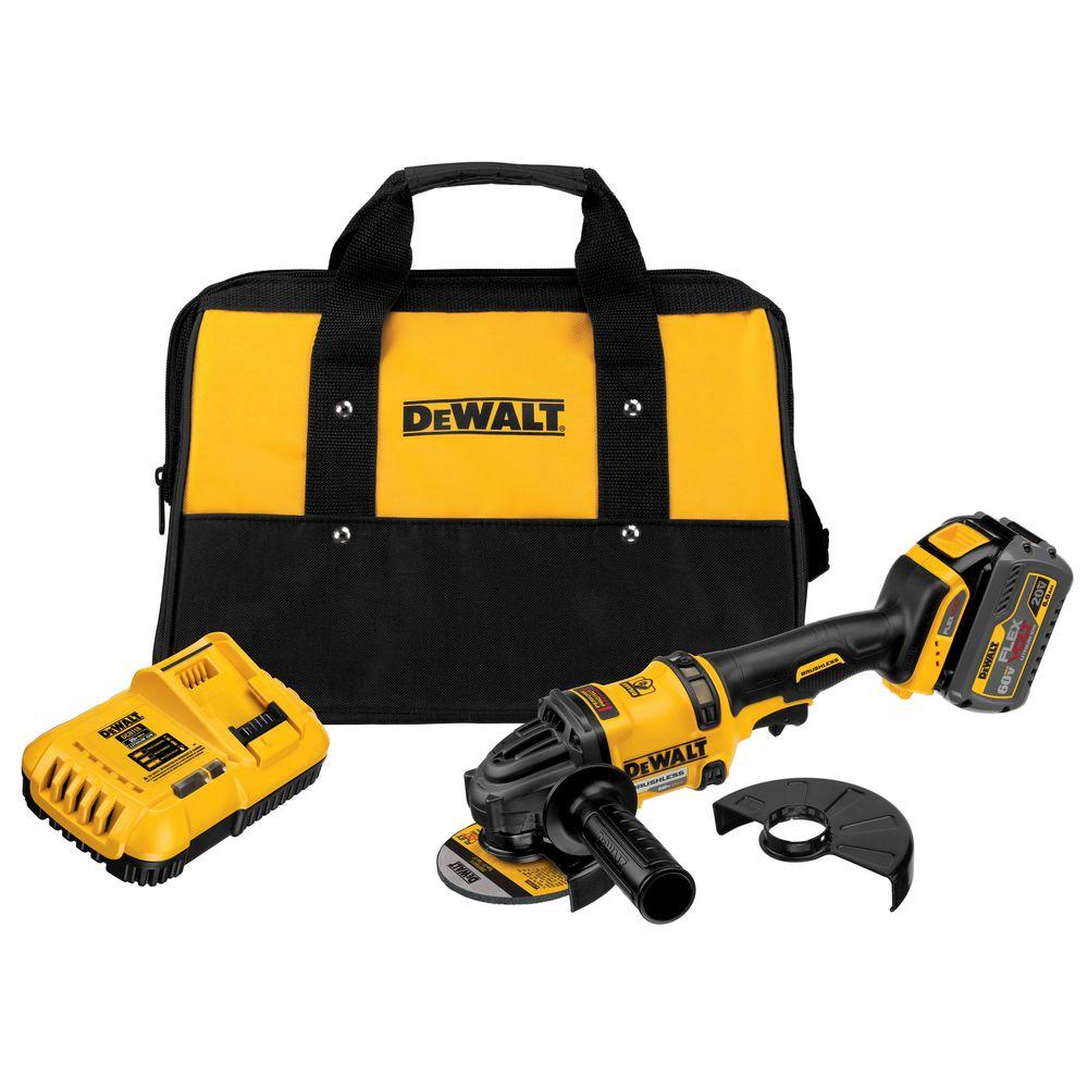 Dewalt Angle Grinder Flexvolt 60 Volt Max Lithium Ion Cordless Brushless 4 1 2 In Angle Grinder With Battery 2ah Charger And Contractor Bag