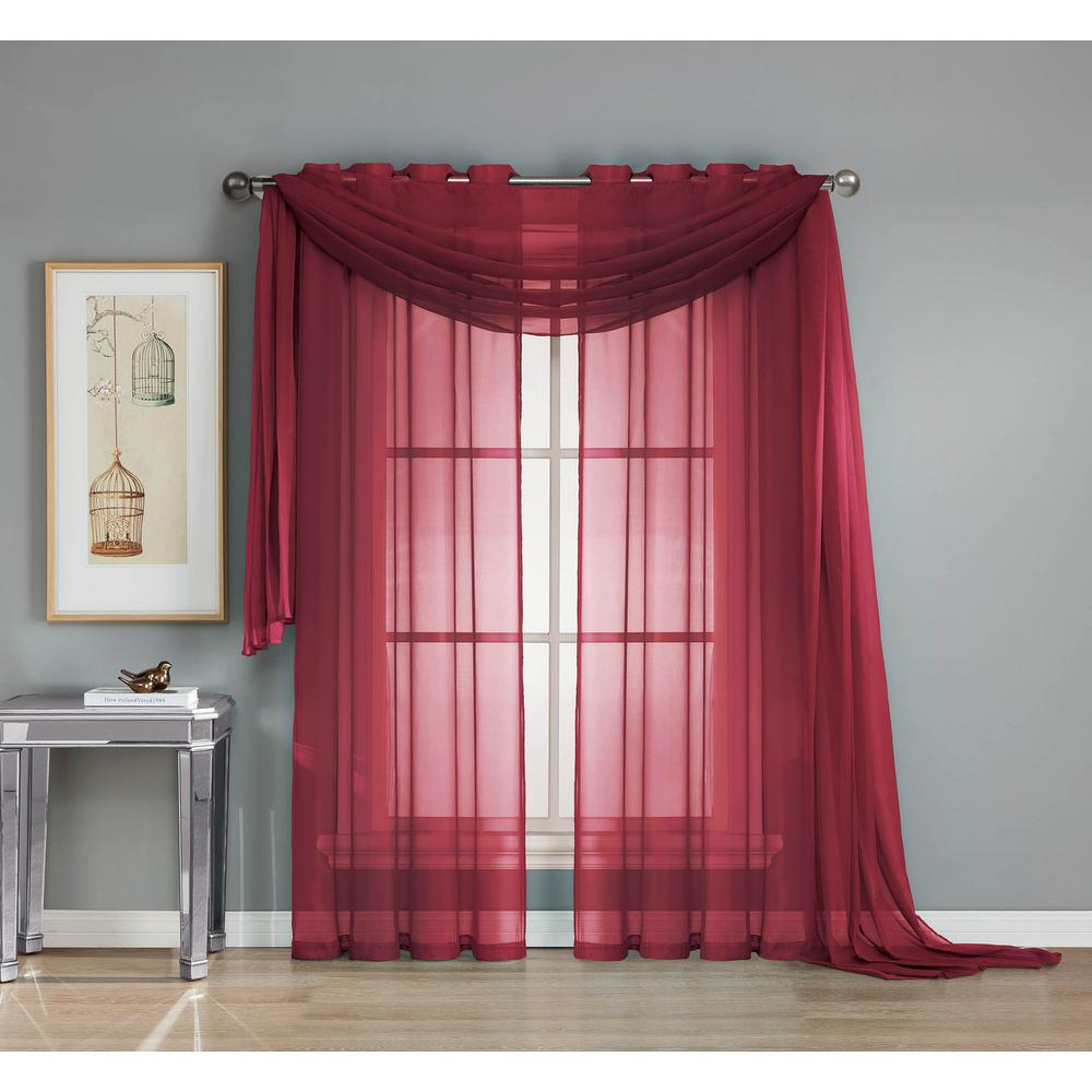 Draping Curtains Window Elements Solid Voile Sheer 216 In L Polyester Curtain Scarf In Burgundy