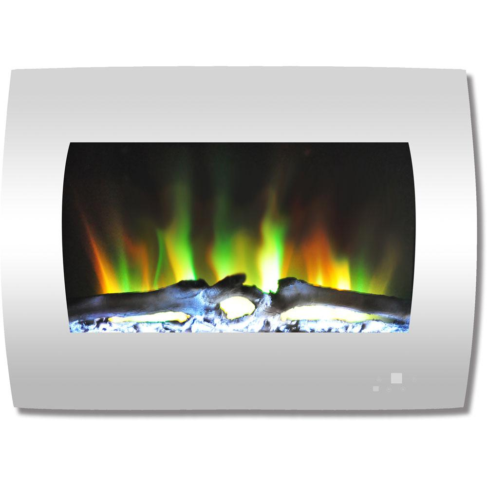 Curved Electric Fireplace Cambridge 26 In Curved Wall Mount Electric Fireplace In White With Multi Color Flames And Log Display