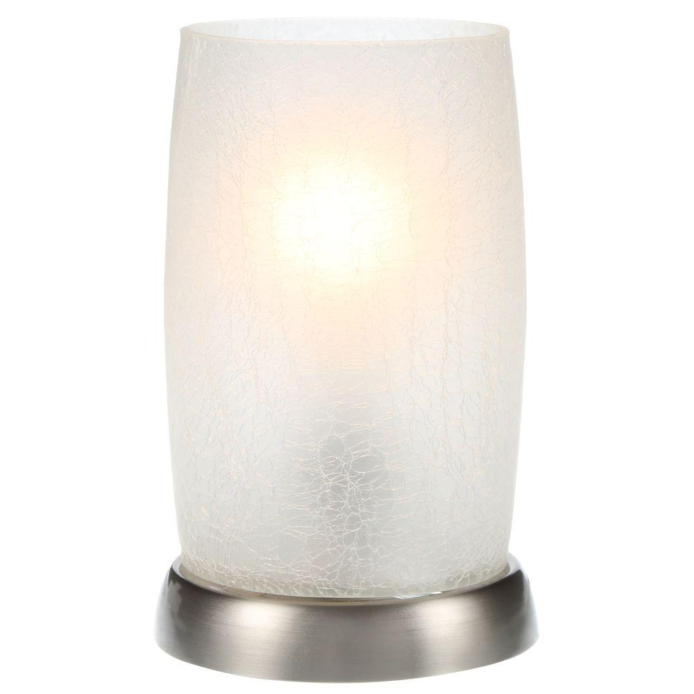 Glass Crackle Lamp Hampton Bay 8 5 In Brushed Nickel Accent Lamp With Frosted Crackled Glass Shade