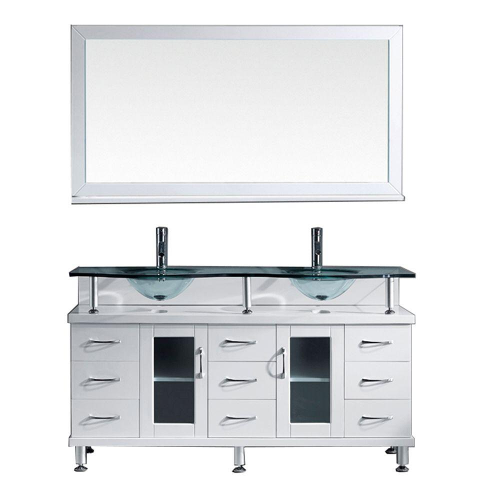 Double Sink Bathroom Vanity With Top Virtu Usa Vincente Rocco 60 In W Bath Vanity In White With Glass Vanity Top In Aqua With Round Basin And Mirror And Faucet