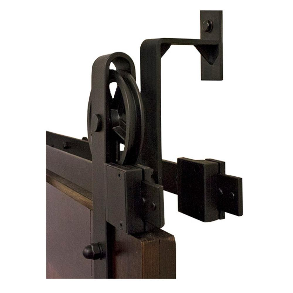 Barn Door Wheels By Passing Hook Strap Black Rolling Barn Door Hardware Kit With 5 In Wheel