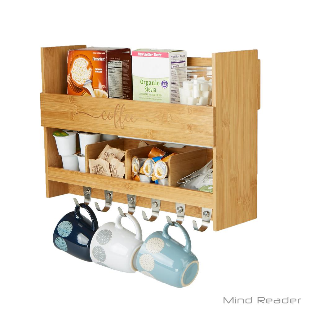 Kitchen Shelves Wall Mounted Mind Reader 5 51 In L X 18 19 In W X 12 6 In H 2 Shelf Wall Mount Kitchen Shelf With Coffee Rack
