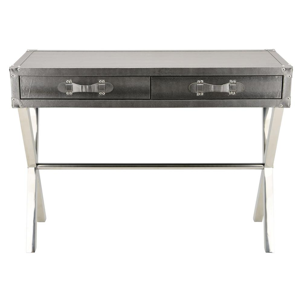 Sofa Legs Ss Silver Lizard Leather Console Table Exl 1004 02slv Ss The Home Depot