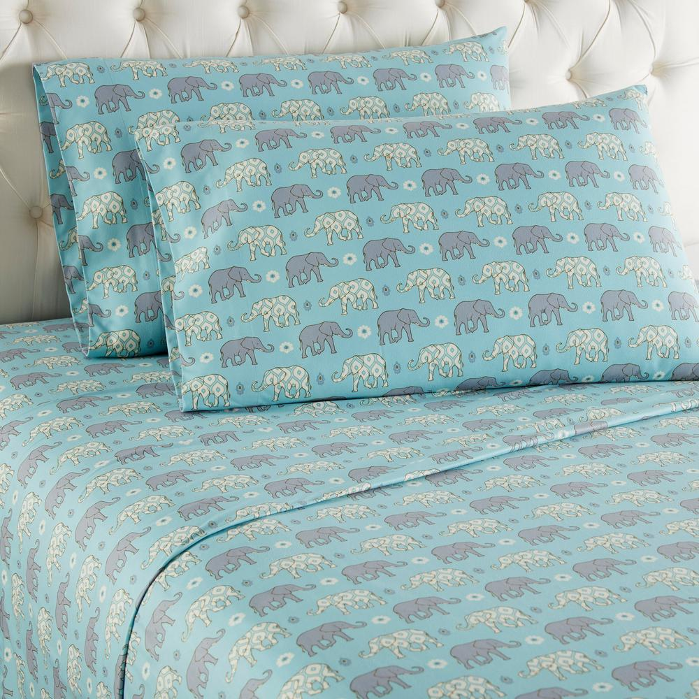 Printed Sheet Sets Micro Flannel 3 Piece Elephants Twin Printed Sheet Set