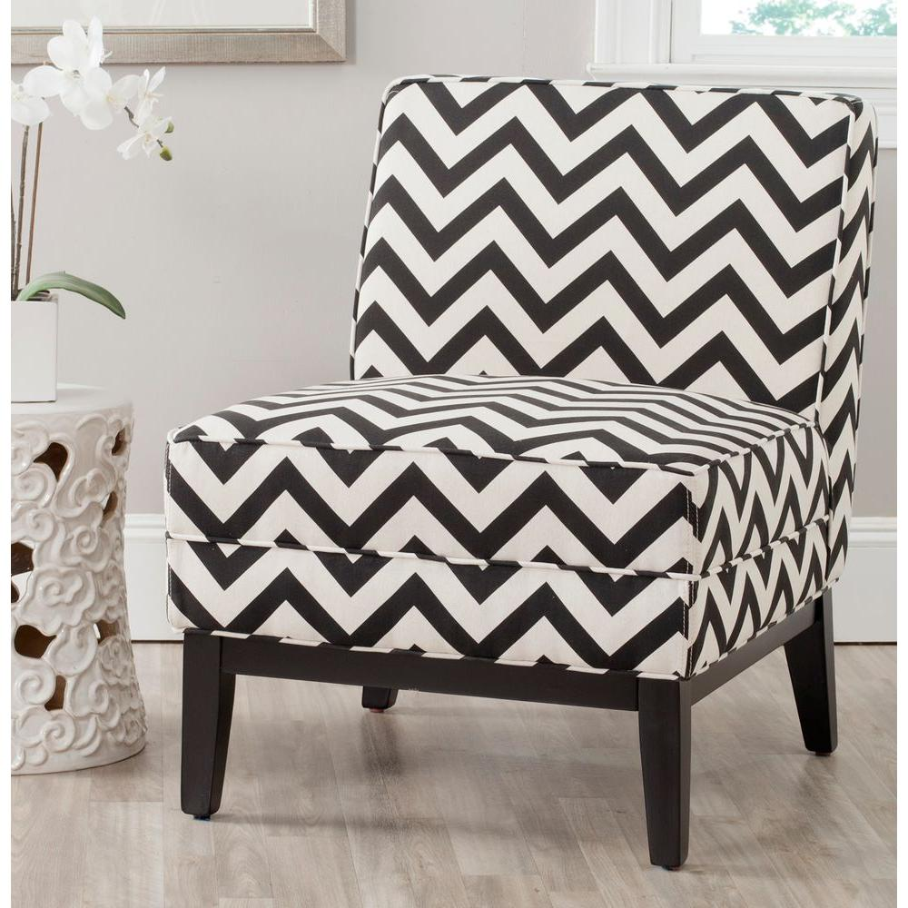 Black And White Accent Chair Safavieh Armand Black And White Zig Zag Linen Cotton Accent Chair