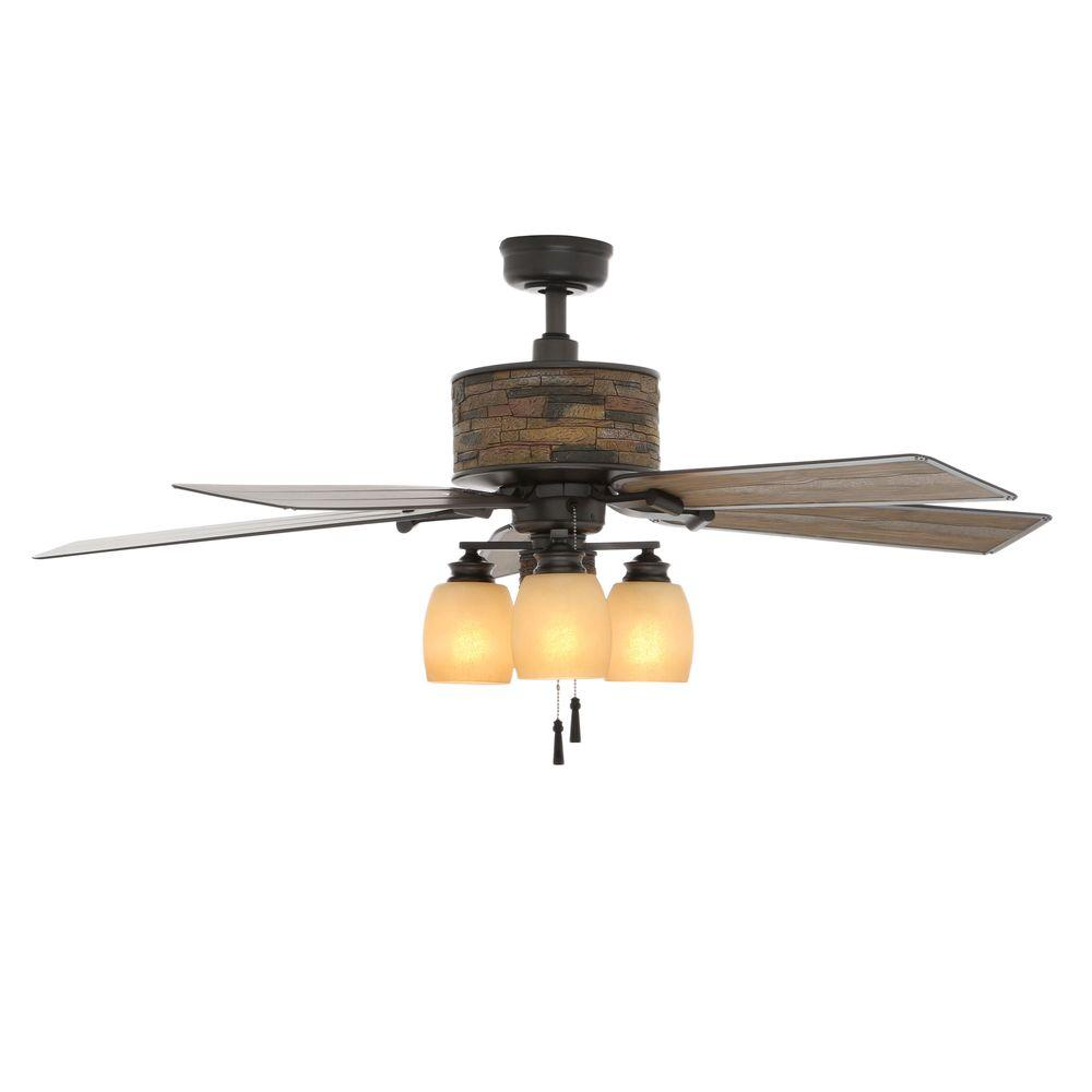 Vintage Looking Fan Hampton Bay Ellijay 52 In Indoor Outdoor Natural Iron Ceiling Fan With Light Kit