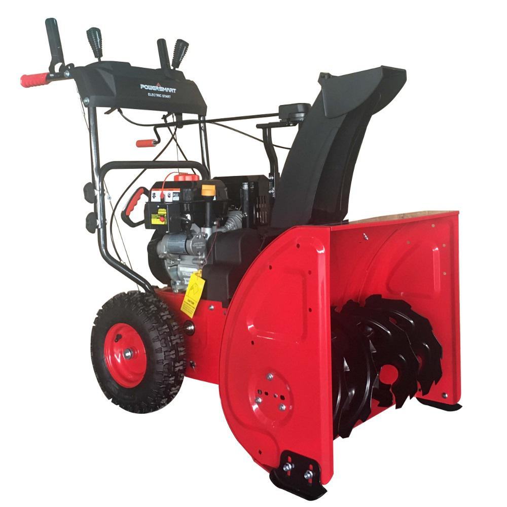 Used Snow Blowers Powersmart 24 In Two Stage Electric Start Gas Snow Blower With Power Assist