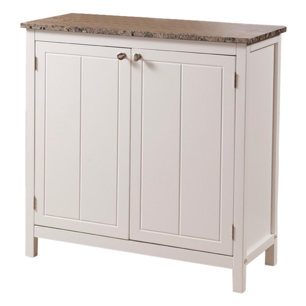 White Marble Island Kings Brand Furniture White With Marble Finish Top Kitchen Storage