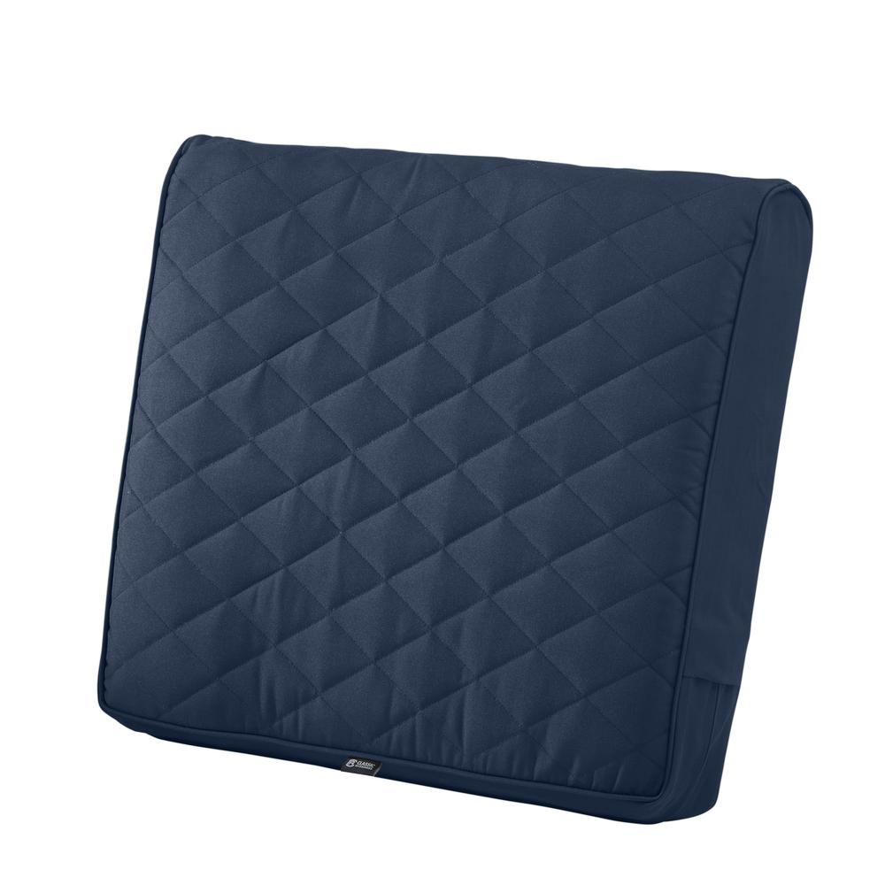 Quilted Lounge Chair Covers Classic Accessories Montlake Fadesafe 25 In W X 22 In D X 4 In Thick Navy Outdoor Quilted Lounge Chair Back Cushion