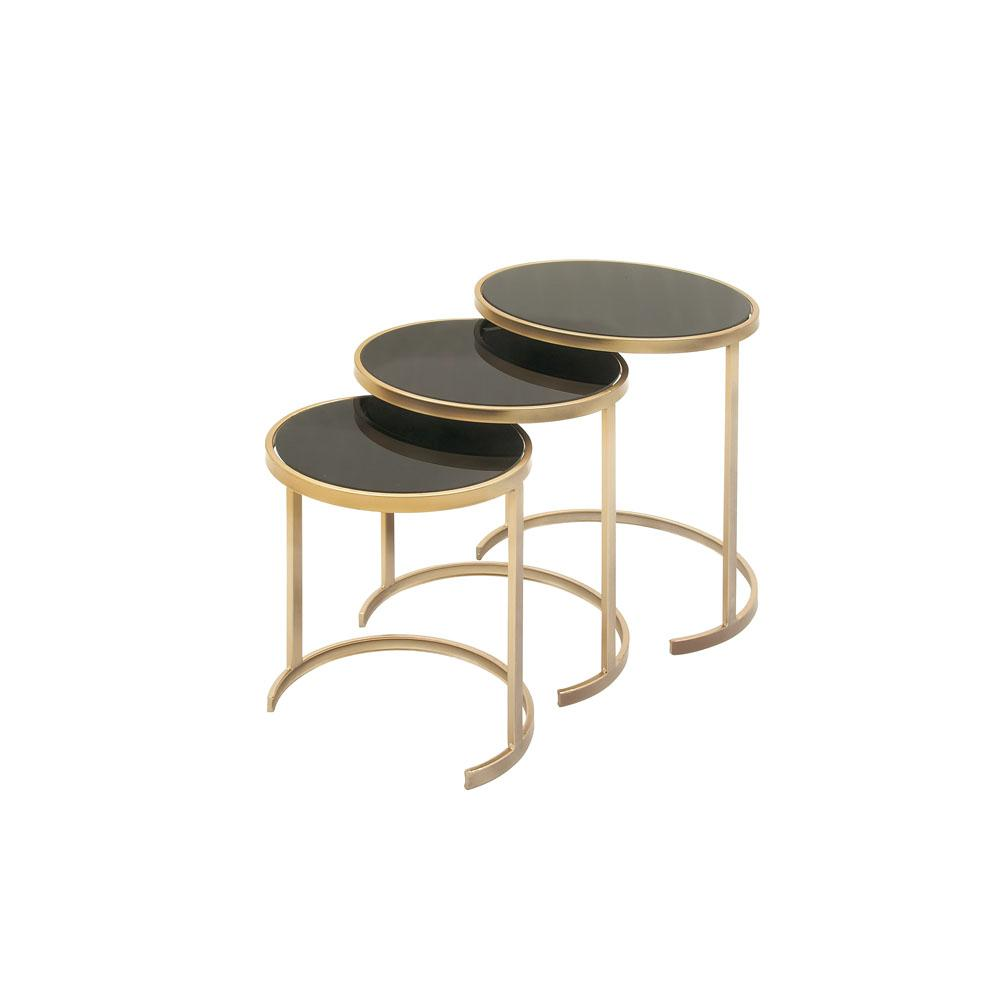 Gold Nesting Coffee Table Litton Lane Black Glass Round Nesting Tables With Gold Iron Legs Set Of 3