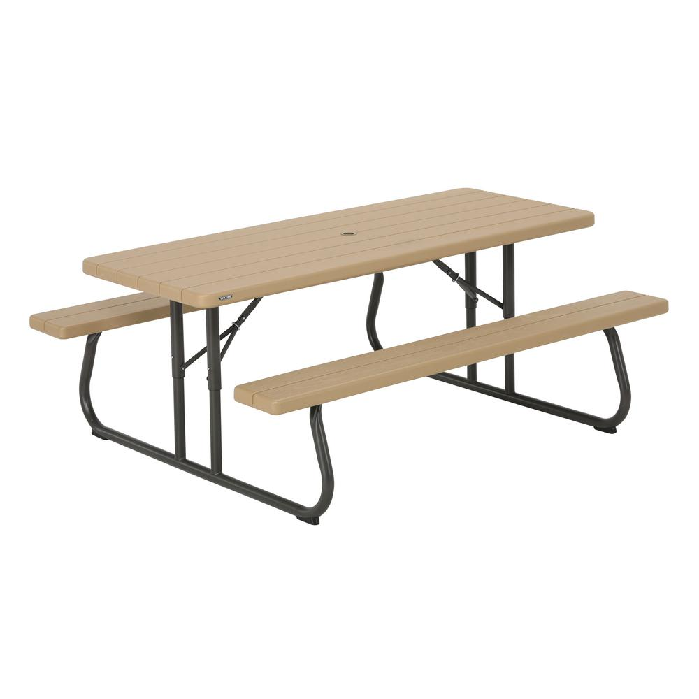 Lifetime 6 Ft Heather Beige Folding Picnic Table 60244