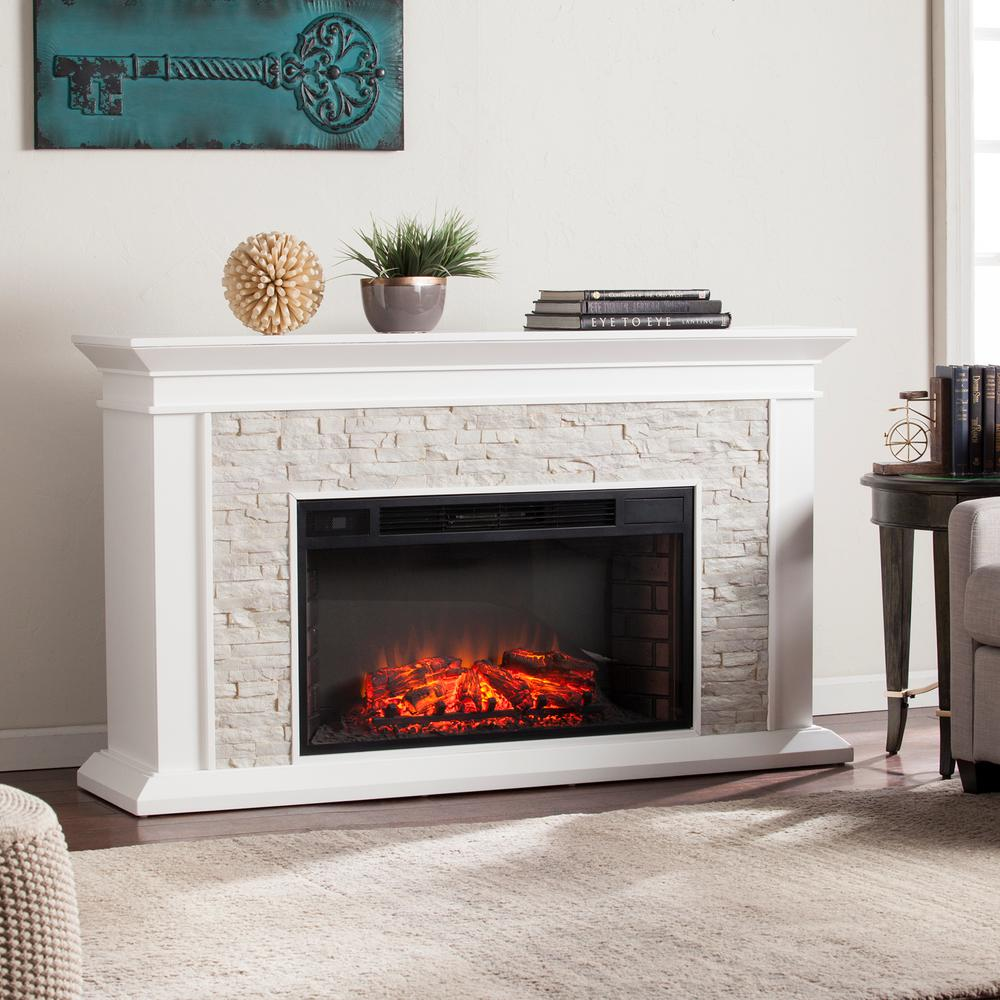 Fire Stones For Fireplace Ithaca 60 25 In W Faux Stacked Stone Electric Fireplace In White
