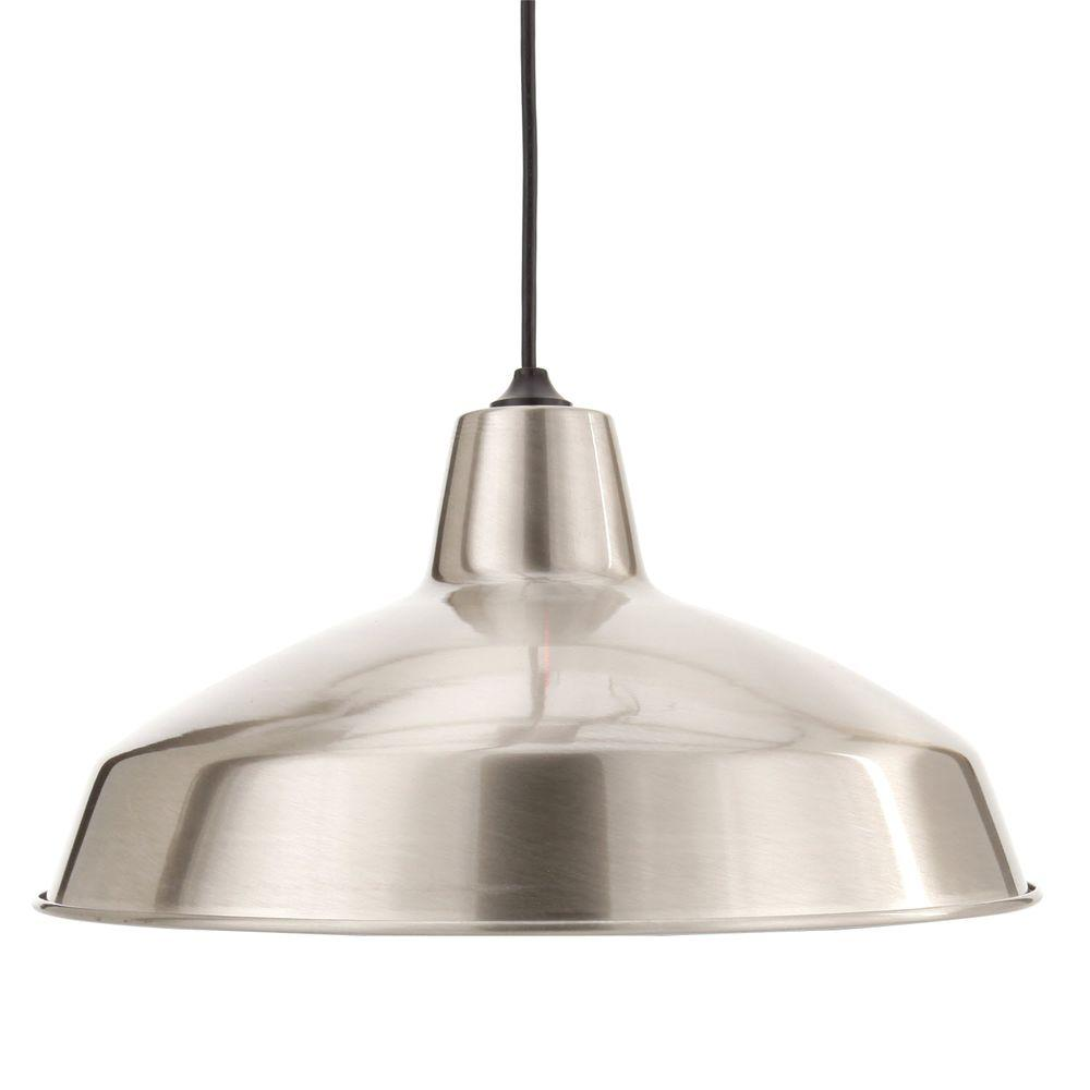 Pendant Lighting Hampton Bay 1 Light Brushed Nickel Warehouse Pendant