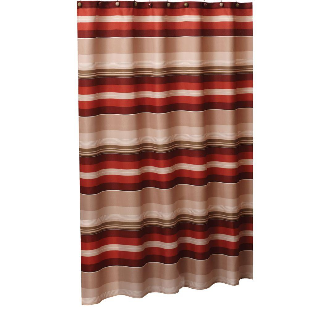 Red And Brown Shower Curtain Saturday Knight Madison Stripe 72 In W X 72 In L Fabric Shower Curtain In Red