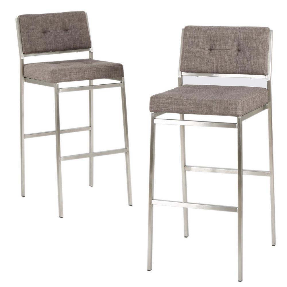 28 Barstools Noble House Qyto 30 In Light Grey Tufted Fabric Barstools Set Of 2