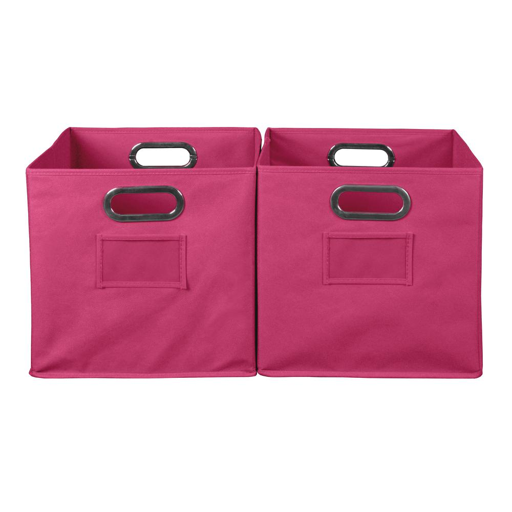 Pink Bins Niche Cubo 12 In X 12 In Pink Foldable Fabric Bin 2 Pack