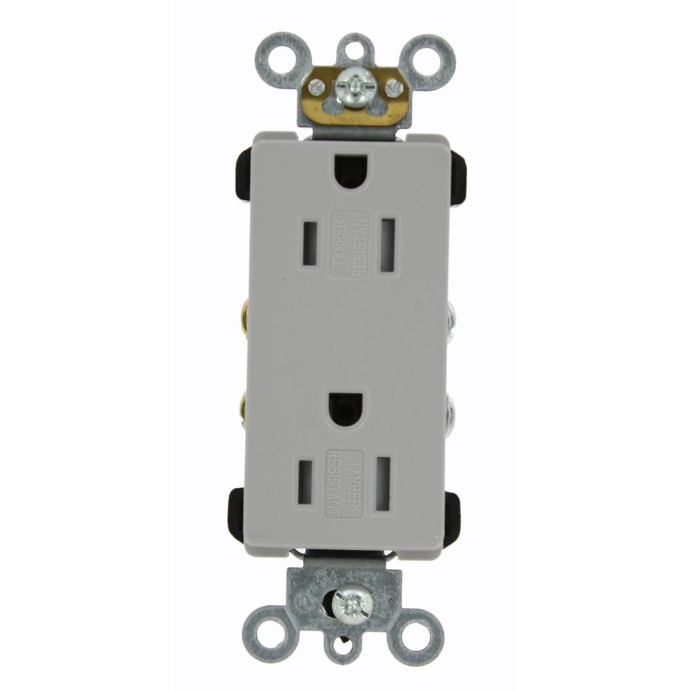 Contemporary Electrical Outlets Leviton Decora Plus 15 Amp Tamper Resistant Self Grounding Duplex Outlet Gray