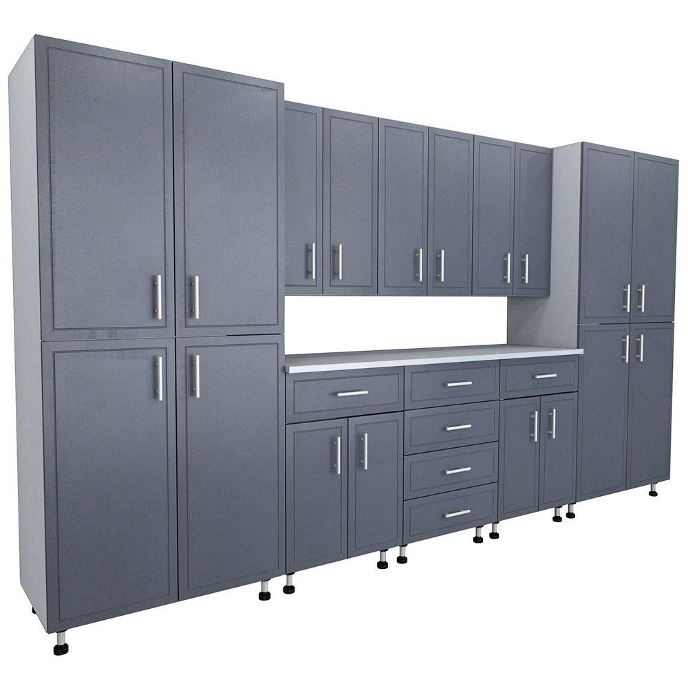 Garage Utility Cabinets 80 5 In X 144 In X 21 In Progarage Premium Storage Systems In Gray 9 Pieces