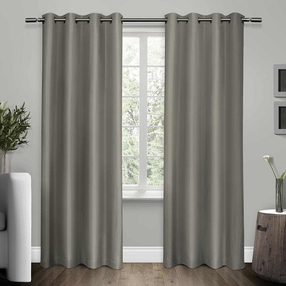 Grey Thermal Curtains Shantung Viridian Grey Faux Silk Thermal Grommet Top Window Curtain