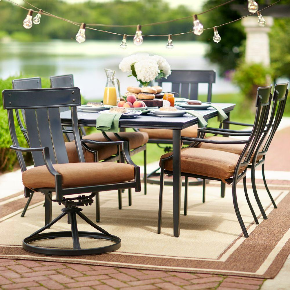 Outdoor Patio Furniture Dining Table Hampton Bay Oak Heights 7 Piece Metal Outdoor Patio Dining Set With Cashew Cushions