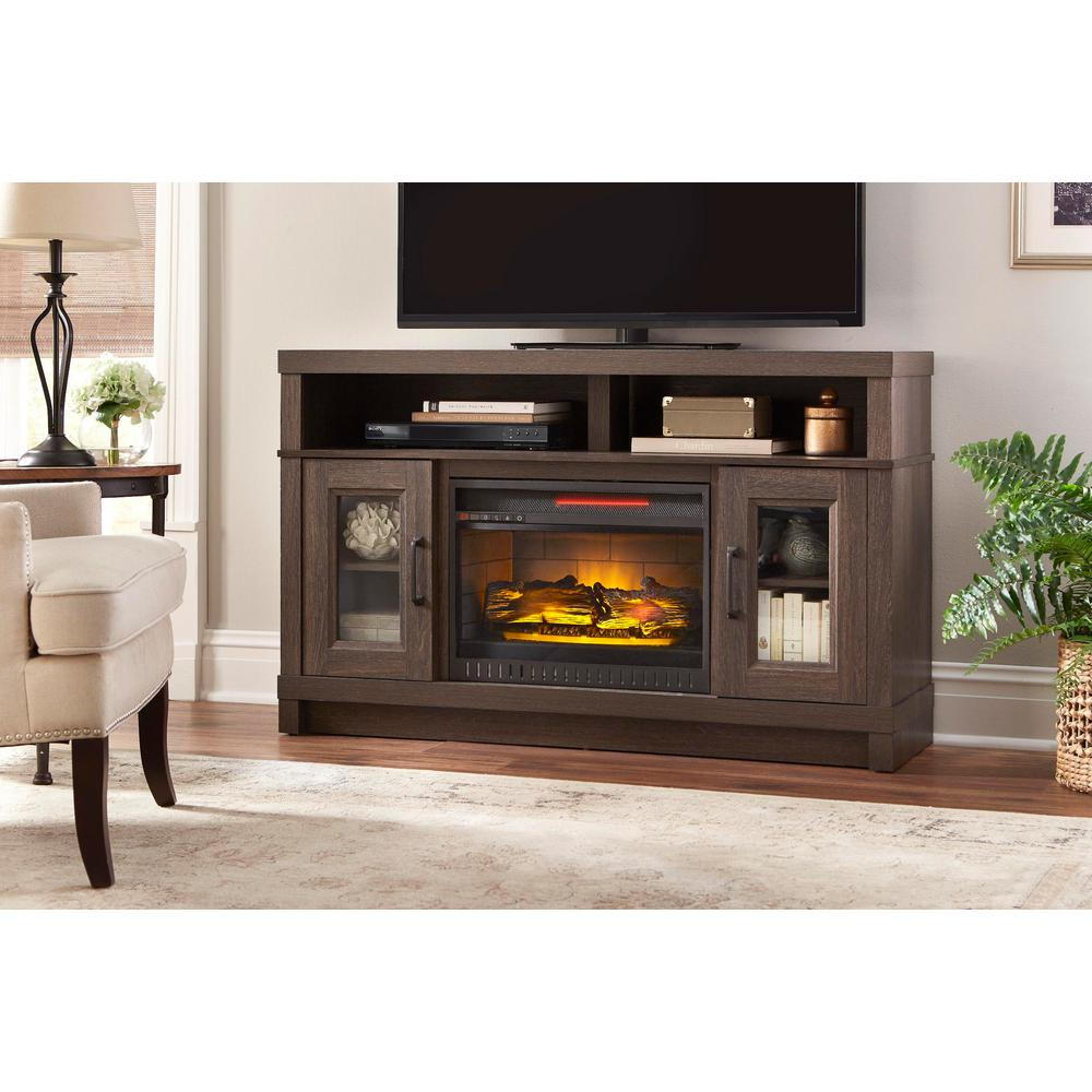Living Room Electric Fireplace Home Decorators Collection Ashmont 54in Media Console Infrared Electric Fireplace In Gray Oak Finish