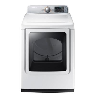 Samsung 74 cu ft Electric Dryer with Steam in White-DVE50M7450W