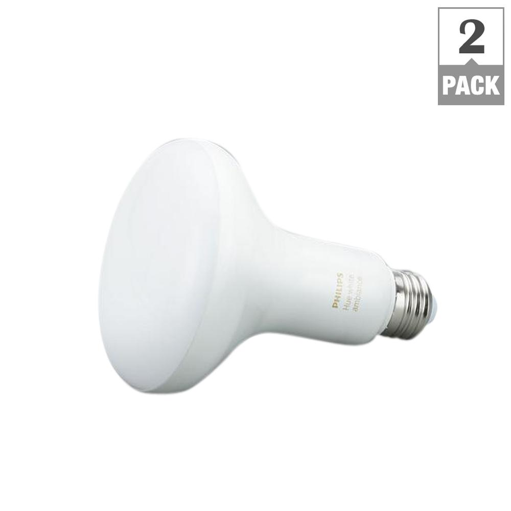 Philips Hue Br30 Philips Hue 65 Watt Equivalent White Ambiance Br30 Connected Home Led Flood Light Bulb 2 Pack