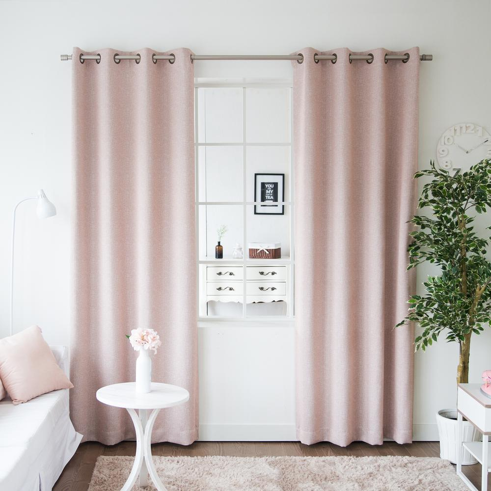 Cheap Stylish Curtains Best Home Fashion 96 In L Pink Linen Print Room Darkening Curtain Panel 2 Pack