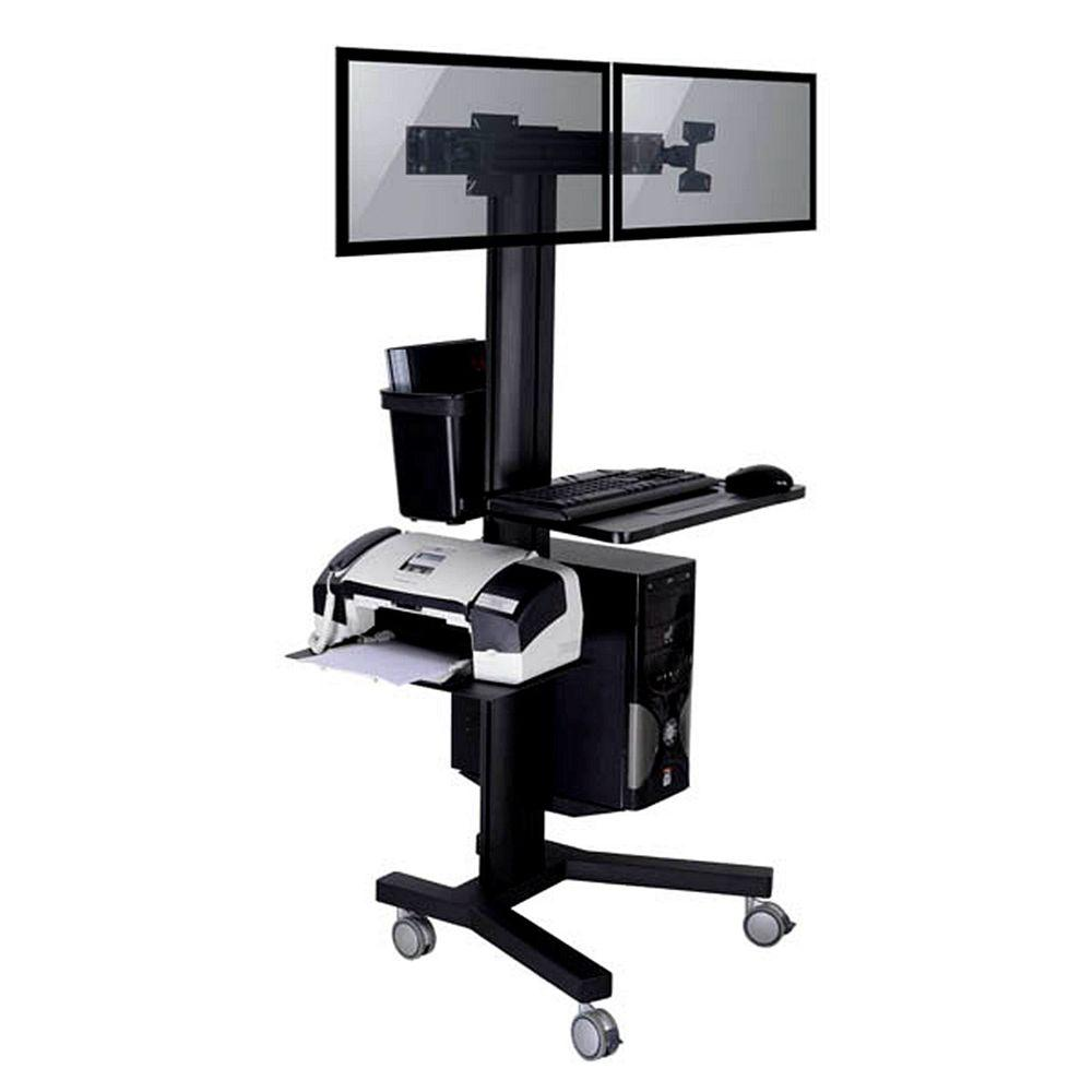 Metal Pc Tygerclaw Mobile Tv Stand For 2 Screen With Pc Holder
