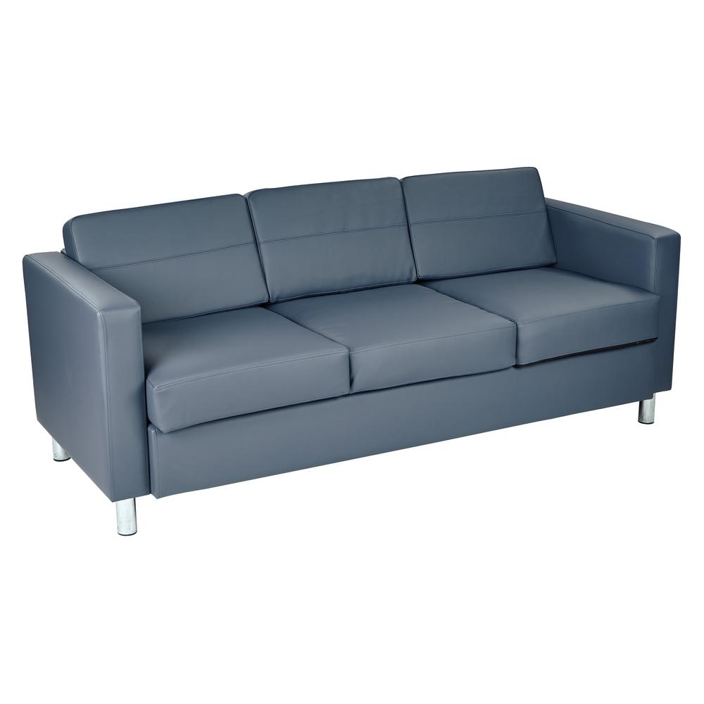Sofa Couch Sofas Osp Home Furnishings Pacific Dillon Blue Vinyl Sofa Couch With Box Spring Seats And Silver Color Legs