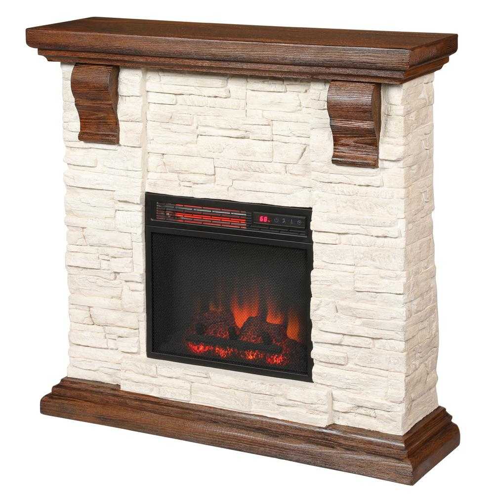 Fireplace Stone Home Decorators Collection Highland 40 In Media Console With Faux Stone Electric Fireplace Tv Stand In Rustic White