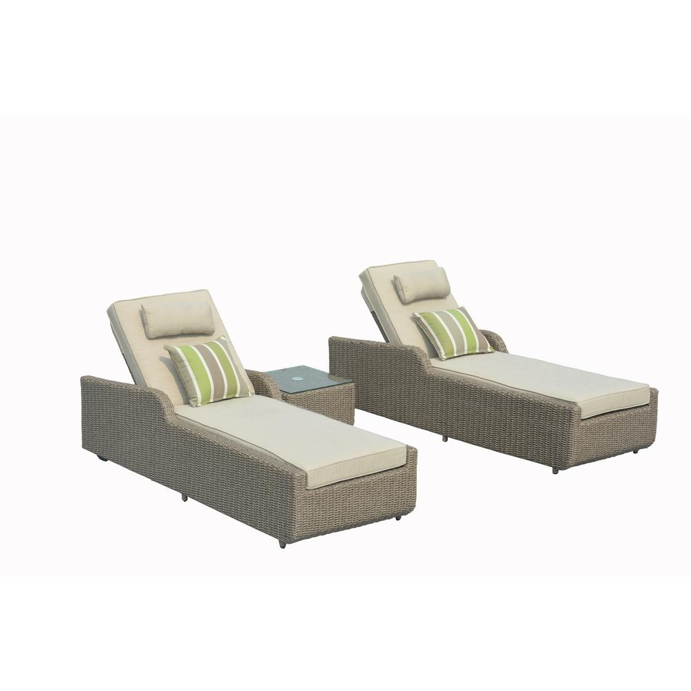 Lounge Set Rattan Direct Wicker Alisa 3 Piece Adjustable Wicker Patio Chaise Lounge Set With Natural Cushions And Side Table
