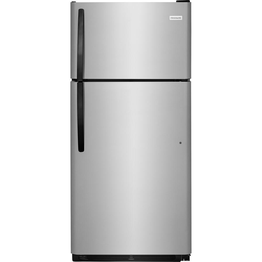 Home Depot Fridges Canada Frigidaire 18 Cu Ft Top Freezer Refrigerator In Stainless Steel